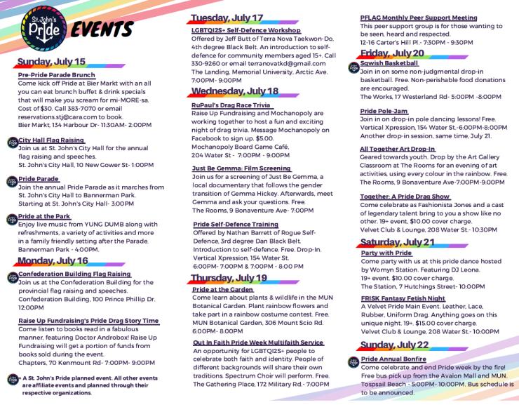 Pride Week 2018! – St  John's Pride
